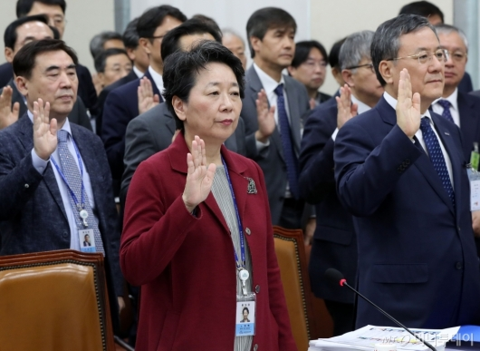[사진]증인 선서하는 한국연구재단 이사장