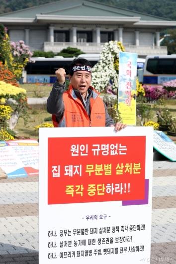 [사진]돼지 살처분 반대 1인 시위하는 하태식 대한한돈협회장