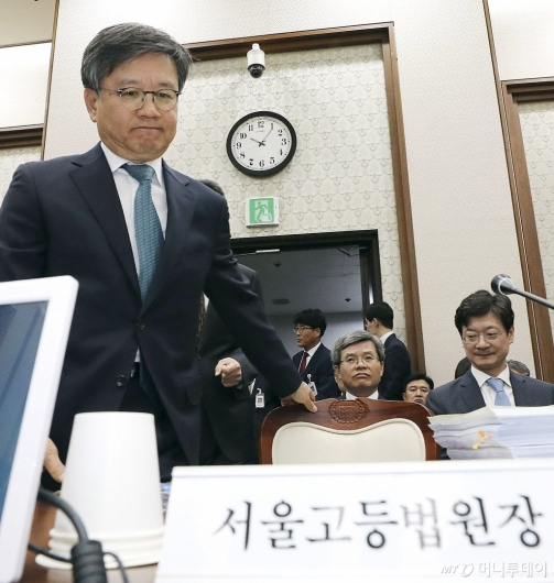 [사진]국감 지각한 김창보 고등법원장