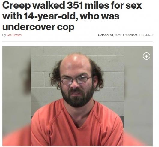 미성년자와 성관계 위해 500km 걸어간 美 성범죄자