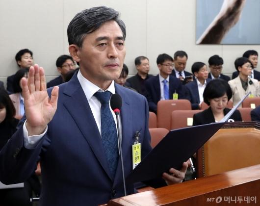 [사진]증인 선서하는 양승동 KBS 사장
