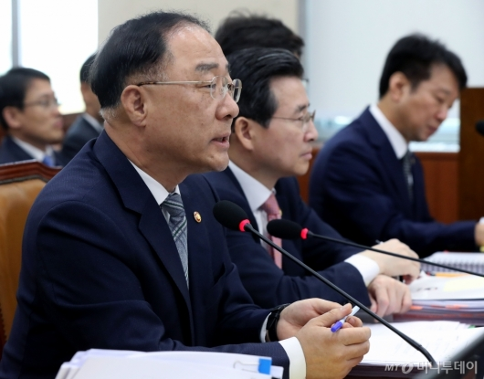 [사진]국감 출석한 홍남기 부총리