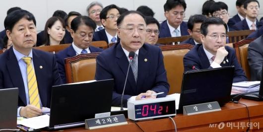 [사진]종합국감 출석한 홍남기