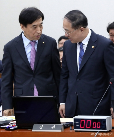 [사진]홍남기-이주열 대화