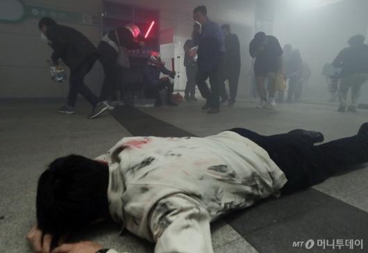 [사진]'실제 같은 지하철 화재 훈련'