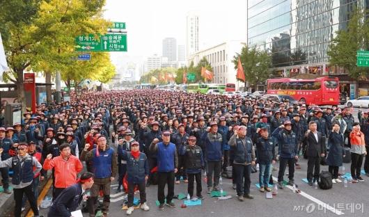 [사진]'총파업 결의' 광화문 집결한 건설노조원들