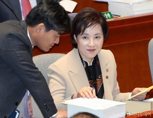[사진]국회 예결위 출석한 유은혜
