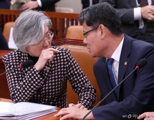 [사진]머리 맞댄 강경화-김연철