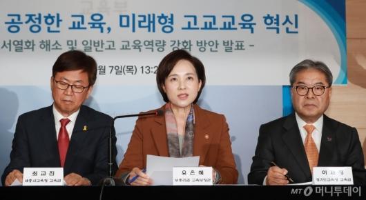 [사진]유은혜 부총리, '외고·자사고, 2025년 일반고 일괄 전환'