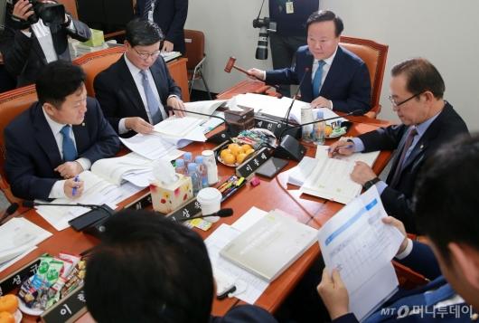 [사진]예산안조정소위 주재하는 김재원 위원장