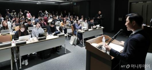 [사진]기자들 만난 고한승 삼성바이오에피스 대표