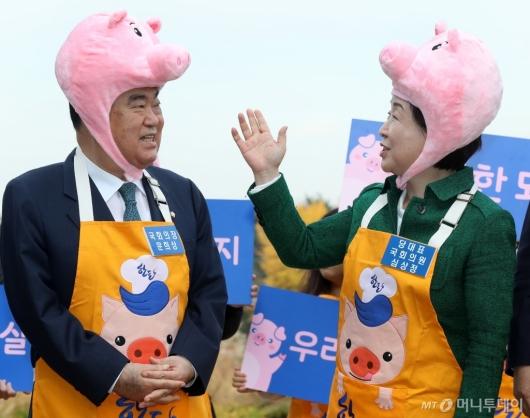 [사진]돼지모자 쓴 문희상-심상정