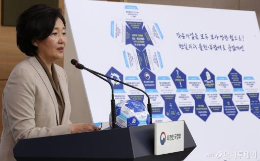[사진]작은기업 현장공감 규제애로 개선방안 발표하는 박영선 장관