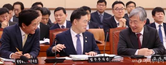 [사진]국회 법사위 출석한 김오수-최재형