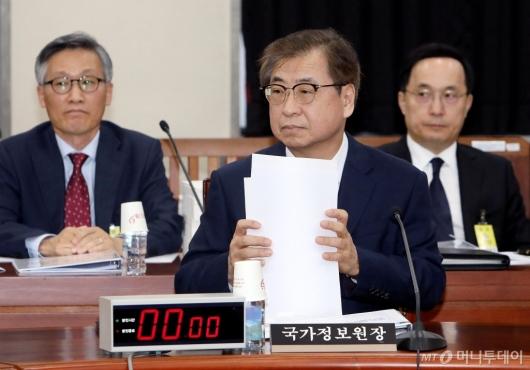 [사진]회의 준비하는 서훈 국정원장