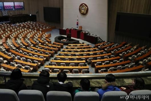 [사진]텅빈 국회 본회의장, 의원들은 어디에