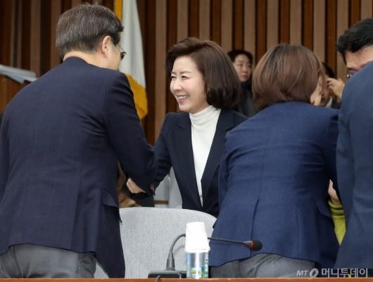 [사진]의원들과 인사 나누는 나경원