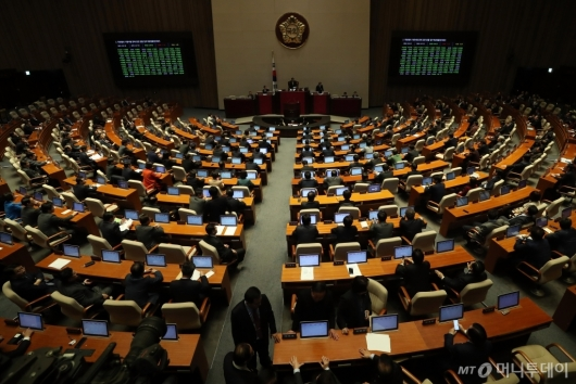 [사진]특정범죄 가중처벌 '민식이법' 국회 본회의 통과