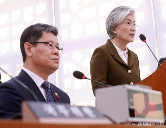 [사진]국회 외통위 현안 보고하는 강경화