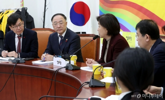 [사진]정의당 방문한 홍남기-김상조