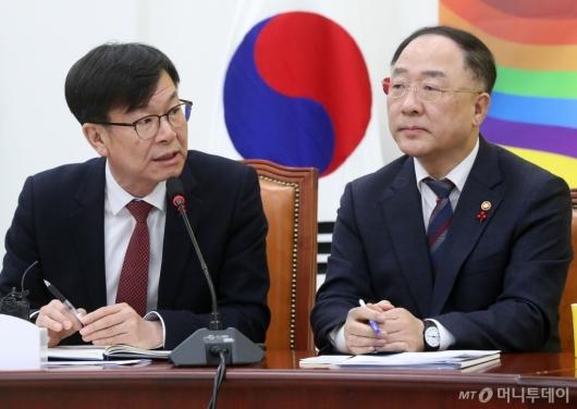 [사진]이란사태 관련 정의당 찾은 홍남기-김상조