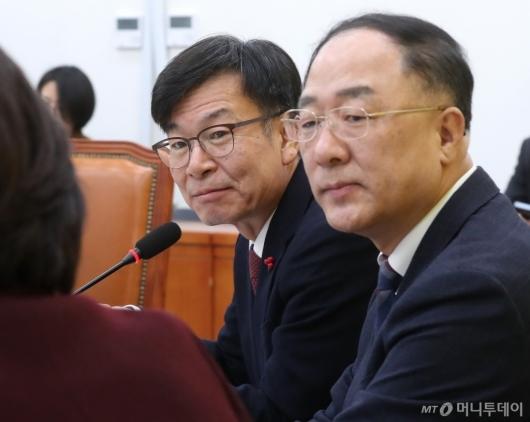 [사진]심상정 대표 예방한 홍남기-김상조
