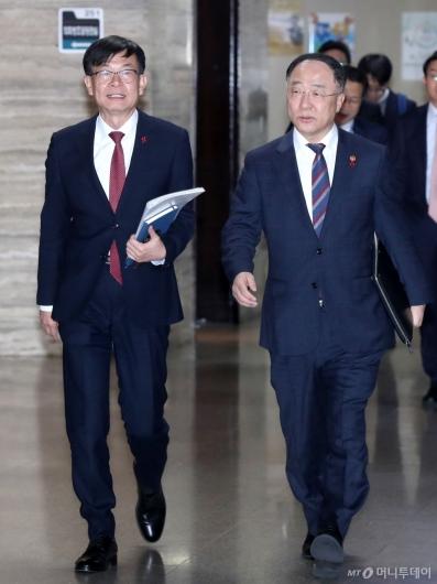 [사진]이란사태 관련 국회 방문한 홍남기-김상조