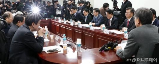 [사진]한국당-새보수당 혁통위 첫 회의