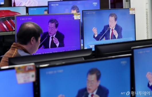 [사진]대통령 신년 기자회견 '조국에 마음의 빚...이제 놓아달라'