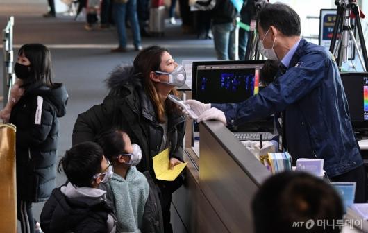 [사진]발열 검사 받는 입국자들