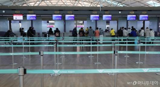 [사진]'우한 폐렴 여파' 한산한 중국 항공사