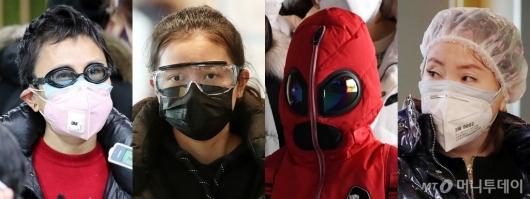 [사진]물안경부터 샤워캡까지…'우한 폐렴 공포'