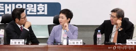 [사진]머리 맞댄 정병국-이언주-박형준