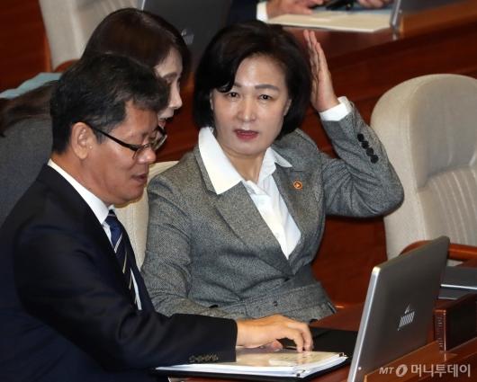 [사진]국회 본회의 출석한 추미애 장관
