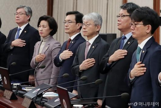 [사진]'스위스 출장' 강경화 장관 대신 국무회의 참석한 조세영 차관