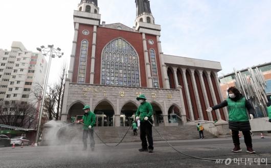 [사진]방역작업 들어간 명성교회