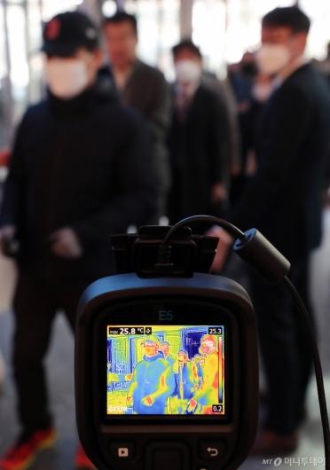 [사진]'코로나19 확산 방지' 갤러리아 광교점 체온측정