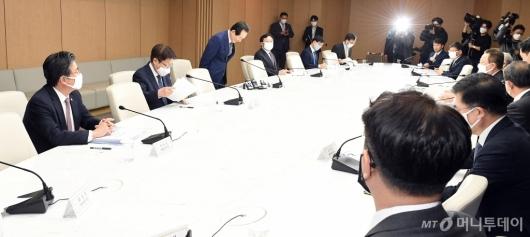 [사진]5개 경제단체장 만난 정세균 총리