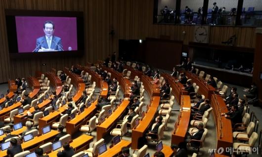 [사진]국무총리 시정연설 경청하는 통합당