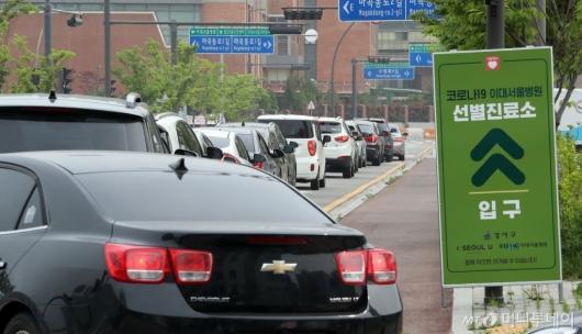 [사진]차량들 줄지은 이대서울병원 선별진료소