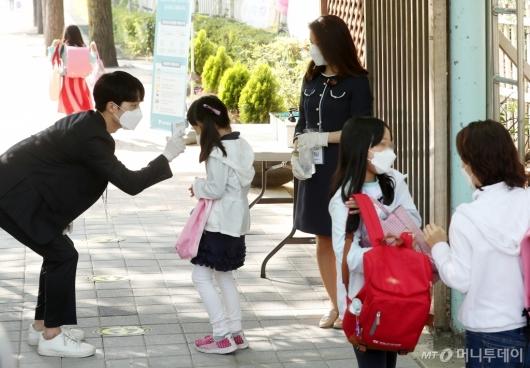 [사진]등교하는 초등학교 1-2학년 학생들