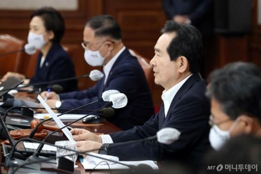 [사진]정세균 총리, 임시 국무회의 모두발언