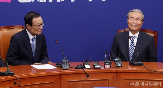 [사진]이해찬-김종인, 웃고는 있지만