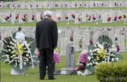 [사진]현충원 묘역 찾은 참배객