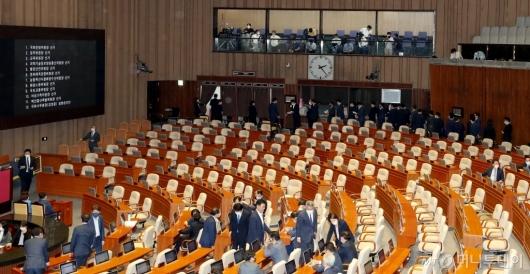 [사진]본회의 불참한 미래통합당의 빈자리