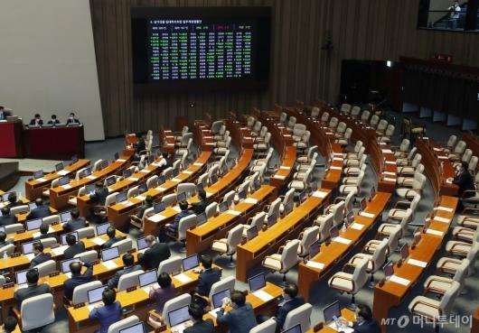 [사진]통합당 퇴장 속 임대차보호법 통과