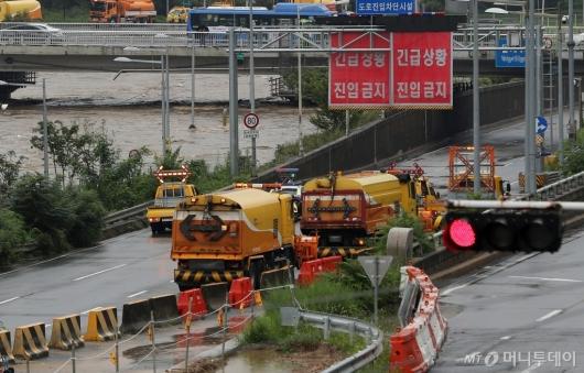 [사진]전면 통제된 동부간선도로