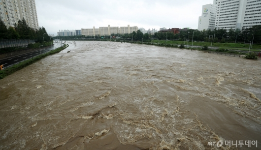 [사진]흙탕물 흐르는 중랑천