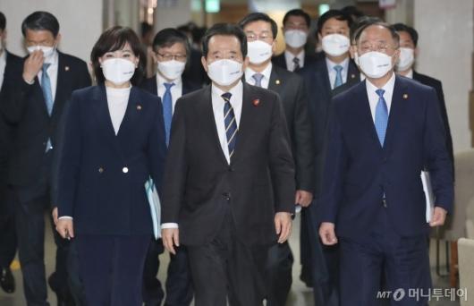 [사진]반부패정책협의회 결과 브리핑 참석하는 정세균 총리