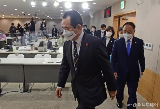 [사진]정세균 총리, 반부패정책협의회 결과 브리핑 참석